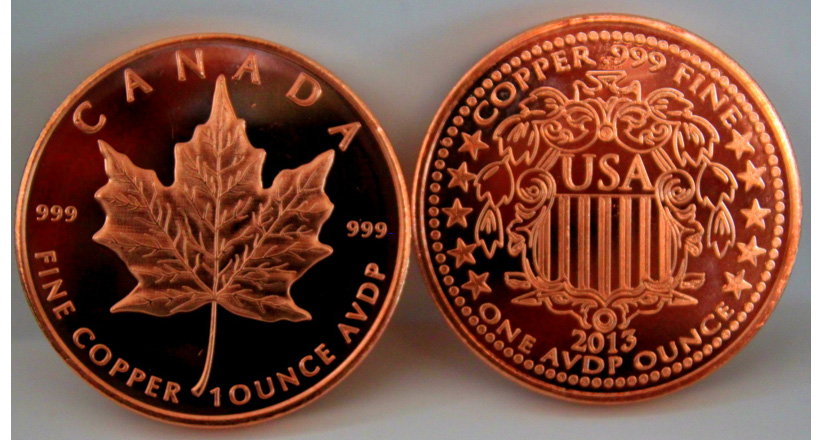 2013 Canada Maple Leaf One Ounce 999 Copper Coin