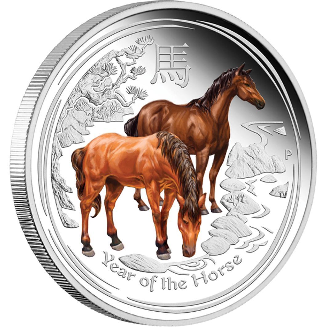 Australia $1 Dollar 2014 Lunar Series II Horse 1 oz .999 Silver Coin