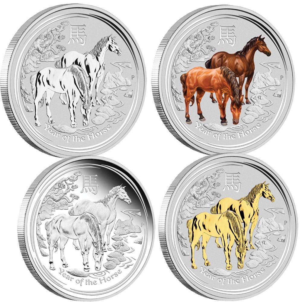 2014 P Australia 4 Coin Silver 1 Horse Type Set